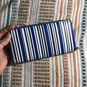 Handbags - NEVER USED Blue and white striped wallet